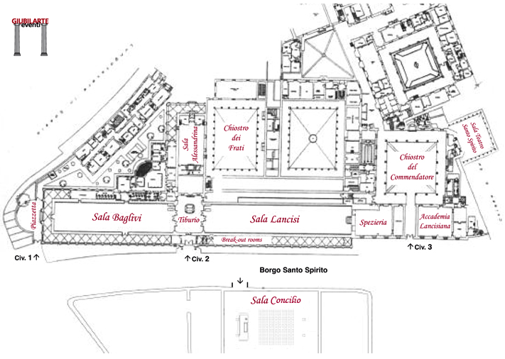 Complesso monumentale Santo Spirito - Mappa delle sale delle conferenze